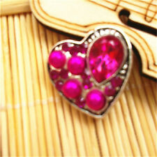 3D Rhinestone Rose Heart Charm Chunk Snap Button FIT For Noosa Leather Bracelets