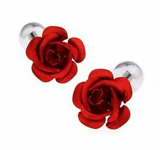 High Quality 3D Red Rose Cufflinks silver Colour Cuff links England Rugby