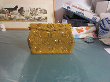 Vintage Retro Beaded Evening Bag Gold Tones Hand Made in Hong Kong