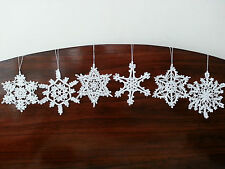 New Handmade Crochet White Christmas Snowflake Ornaments Tree and Home Decor