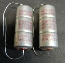 2 PCS HUNTS 0.5uF 400V METALLISED POLYESTER MILITARY GRADE CAPACITORS. NOS.