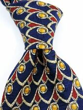 Bolgheri Italian Print Jacquard 100% Pure Silk Tie - Blue/Yellow/Red