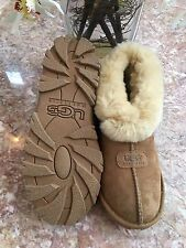 WOMEN'S UGG SHEILA 5127 CHESTNUT SUEDE SHEARLING LINED SLIPPER BOOTIES SZ 7