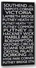 Southend Hackney Putney Destination Bus Blind Framed Canvas Print