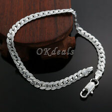 Fashion Jewelry Cute 5MM Women 925 Sterling Silver Plated Chain Bracelet Men