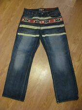 MENS AKADEMIKS NATIVE WARRIORS DESIGNER FASHION JEANS SIZE 32 x 32