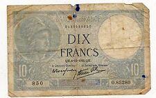 BANKNOTE / BILLET FRANCE / 10 FRANCS MINERVE 1941