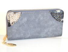 PORTAFOGLIO GRIGIO ORO borsello donna portamonete borsellino clutch bag A16