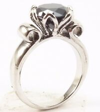 1.80 Ct Certified Natural925 silver solitaire black diamond engagement ring~OM04