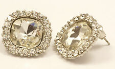 Women's 18 carat White Gold plated square Clear Crystal stud earrings Jewellery