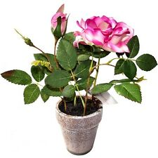 22cm Artificial Potted Rose - Pink Flowers - Ideal for use Indoors or Outdoors