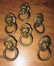 6 Small Vintage Brass Lion Head Ring Pulls Drawer Pulls Replacement Hardware