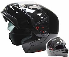 Adult Modular Helmet Dual Visor Motorcycle Gloss Black Small