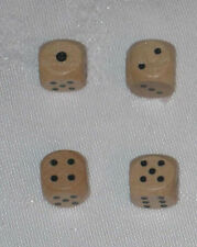 Set of 4 Wooden Dice with Bag (lot, 12mm d6, pips, wood)