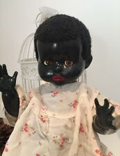 1950s Large Black Pedigree Hard Plastic Vintage Toddler Doll