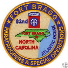 US ARMY POST PATCH, FT BRAGG, NC, 82ND AIRBORNE, PARATROOPERS AND SPECIAL OPS  Y