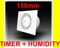 150mm Bathroom, Kitchen, Toilet Wet Room Extractor Silent Fan  Timer + Humidity