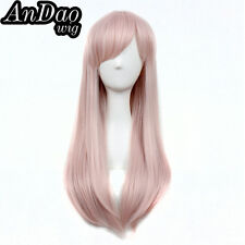 Drag Queen Wig Long Straight Wig Bangs Pastel Pink Synthetic Heat Resistant Wig