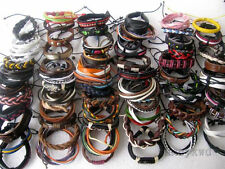Wholesale lots 30pcs Mixed Style Surfer Cuff Ethnic Tribal Leather Bracelets
