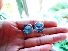 I love Rain - Mood Stud earrings,Cloud Rain Umbrella(Grayish Blue)