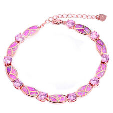 Opal & Topaz Women Jewelry Gems Silver & Rose Gold Filled Chain Bracelet OS563