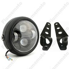"Black LED 6 1/2"" Motorcycle Projector Daymaker Headlight W/ Bracket Cafe Racer"