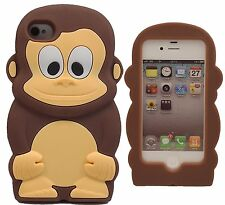 Brown Cheeky Monkey Soft Silicone Case for Iphone 4 / 4S
