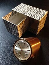 Horloge Presse Papier Elta 17 Jewels Vintage Brass Desktop Clock Watch Rare