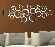 3D Mirror Effect Wall Sticker Fashion Silver Acrylic Home Room Decor Removable