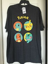 NEW Nintendo Pokemon Pikachu Charmander Squirtle Bulbasaur Short Sleeve Shirt XL