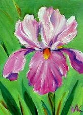 Pink  Iris  ACEO ORIGINAL Oil  Miniature Flowers Painting Signed  M.Kilic