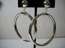 "3"" silver thick hoop clip on earrings non pierced basketball wives"