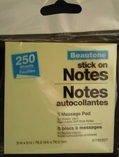 "STICK ON NOTES 3""X3""  250 Sticky Sheets 5 Pads/Pack Pastel Yellow"