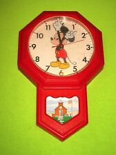 WORKS Disney Mickey Mouse Schoolhouse Electric Clock Red Moves Arms Welby Elgin