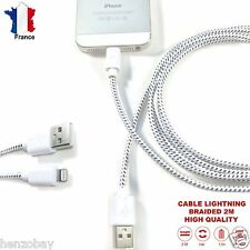 CABLE iPHONE CHARGEUR 2M USB 1,5A LIGHTNING i7+, 6,6s,,5s,se,iPAD,TRESSÉ Durable