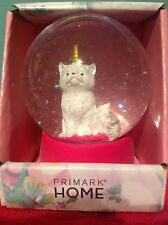 PINK WHITE GOLD KITTY CAT UNICORN GLITTER SNOW GLOBE GLASS ORNAMENT DECORATION