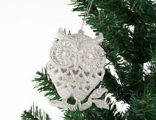 XMO2 3pcs Sparkle Glitter SILVER OWL Christmas XMAS Tree Hanging Decoration