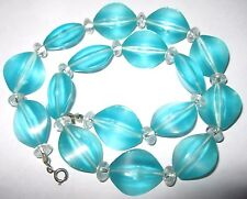 PRETTY VINTAGE 1950's AQUA Frosted Marbled Plastic Pearl Lucite BEAD NECKLACE