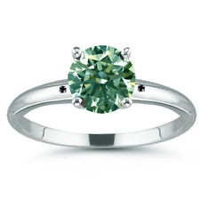 4.77 ct Si3/GREEN REAL ROUND MOISSANITE & NATURAL BLACK DIAMOND .925 SILVER RING