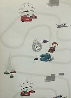 DISNEY CARS AND PLANES WHITE RED AND BLUE KIDS BOYS WALLPAPER LIGHTNING McQUEEN