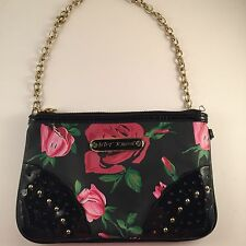 Betsey Johnson Roses Rosebud Mini Bag Purse Black Pink Red Gold Chain Lined