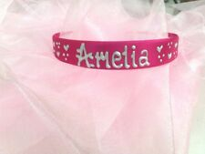1 day only £4 Personalised pink satin headband/hairband/alice band ANY NAME