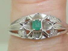 VINTAGE 14K WHITE GOLD APPROX. 12PTW EMERALD CELTIC INSPIRED RING!