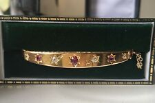 Beautiful Antique Victorian 15ct Gold Diamond, Ruby Hinged Bangle (1896)