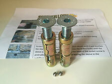 2x M10 Anti-Theft Countersunk Security Bolts.  Rawl Bolts. Wall Fixings