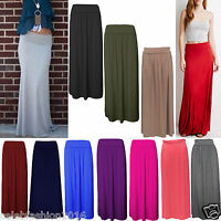 WOMENS LADIES FOLD OVER VISCOSE WAIST LONG JERSEY MAXI GYPSY SKIRT OPEN TROUSER