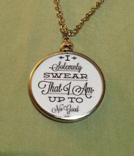 Harry Potter Sayings doublesided Silver Charm Pendant I Solemnly Swear White 1W