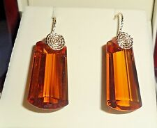 46 cts Natural Fancy Orange Citrine gemstones, 14kt yellow gold Pierced Earrings