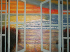sea view ocean large oil painting canvas original seascape nautical sunset art