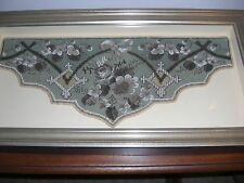 STUNNING FRAMED VICTORIAN HAND MADE BEADED NEEDLEPOINT EMBROIDERED PANEL C 1920